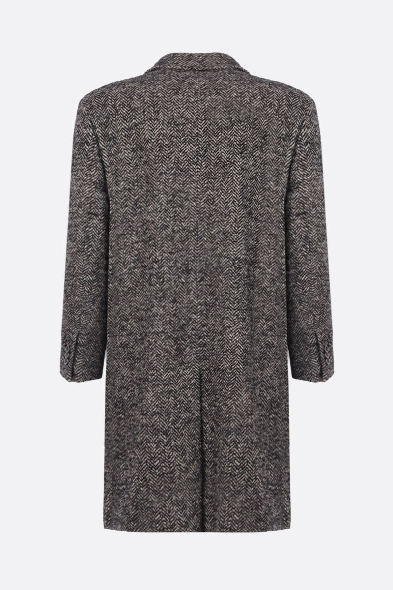 GUCCI: single-breasted herringbone-motif wool coat Color Black_2