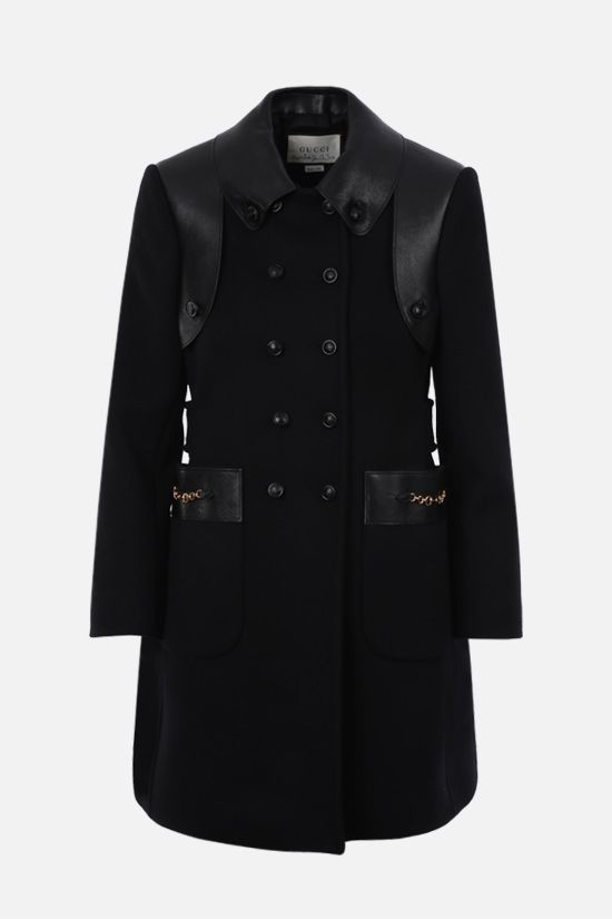 GUCCI: double-breasted wool blend and nappa coat Color Black_1