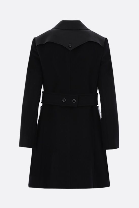 GUCCI: double-breasted wool blend and nappa coat Color Black_2