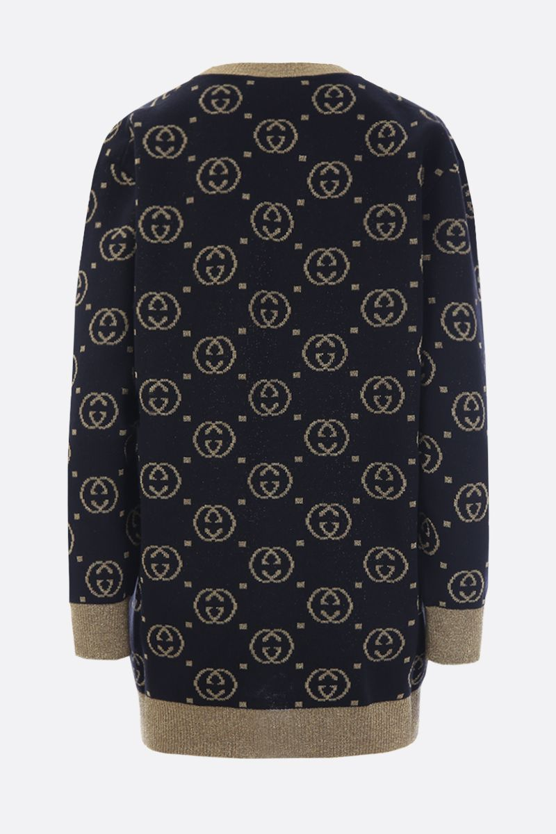 GUCCI: GG wool and lurex cardigan Color Black_2