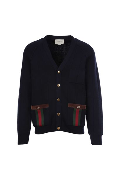 GUCCI: Web-detailed wool blend cardigan Color Blue_1