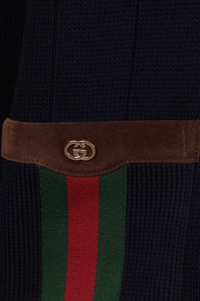 GUCCI: Web-detailed wool blend cardigan Color Blue_2