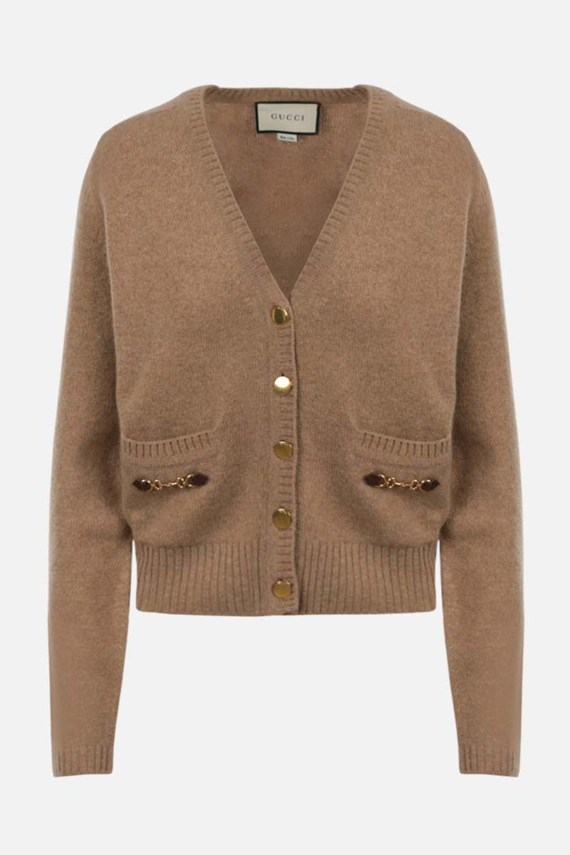 GUCCI: Horsebit-detailed cashmere cardigan Color Neutral_1