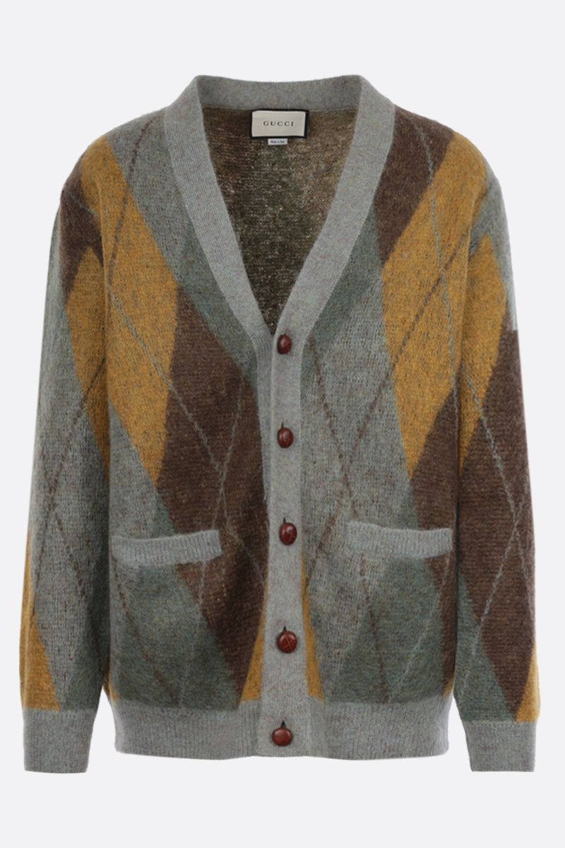 GUCCI: cardigan oversize in misto mohair a rombi Colore Verde_1
