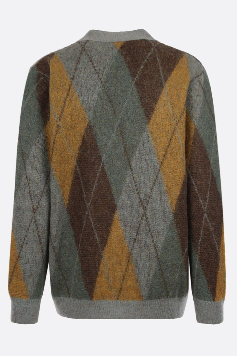 GUCCI: cardigan oversize in misto mohair a rombi Colore Verde_2