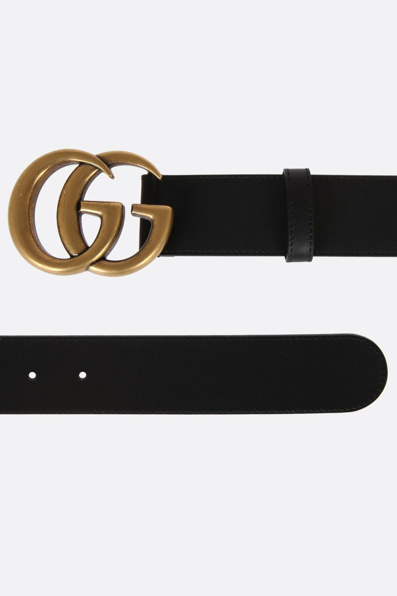 GUCCI: Double G buckle-detailed smooth leather belt Color Black_2