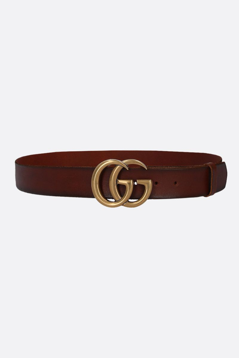 GUCCI: Double G buckle-detailed smooth leather belt Color Brown_1