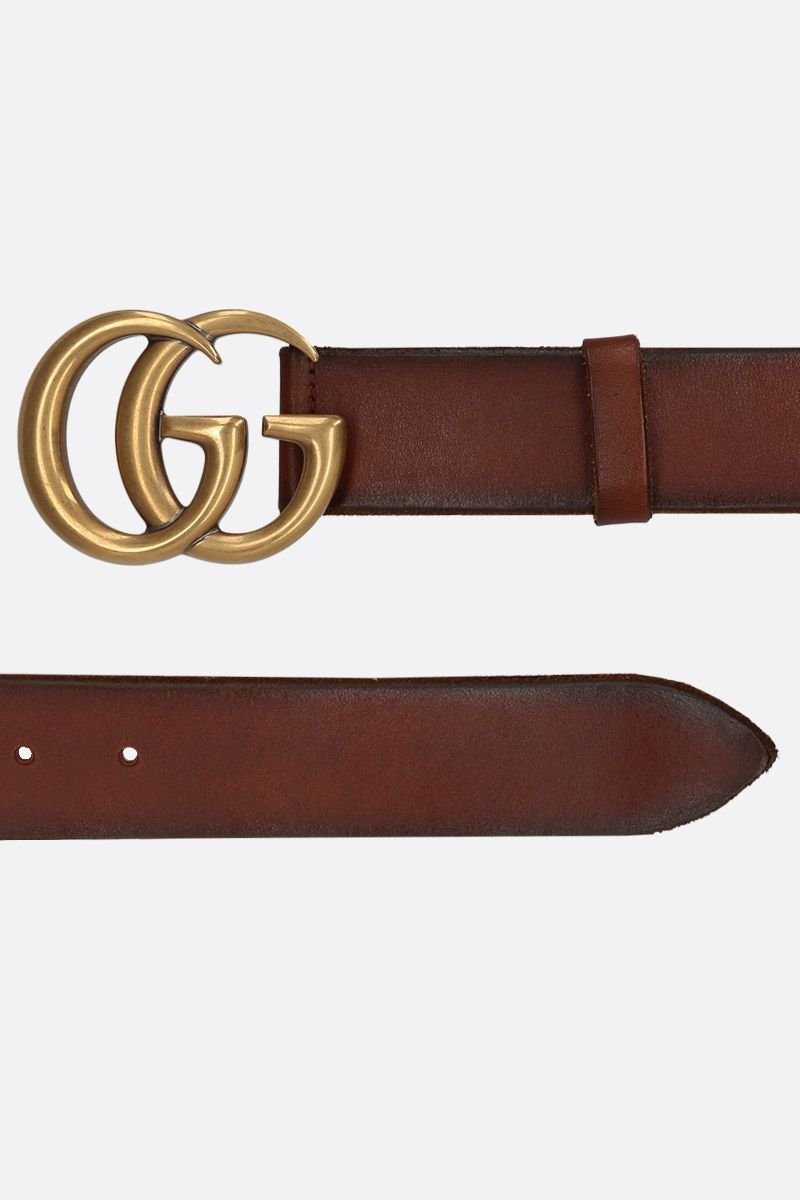 GUCCI: Double G buckle-detailed smooth leather belt Color Brown_2