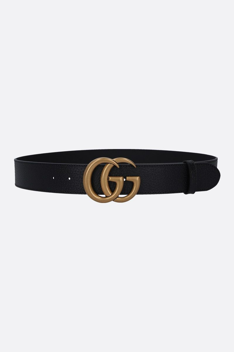 GUCCI: Double G buckle-detailed grainy leather belt Color Black_1