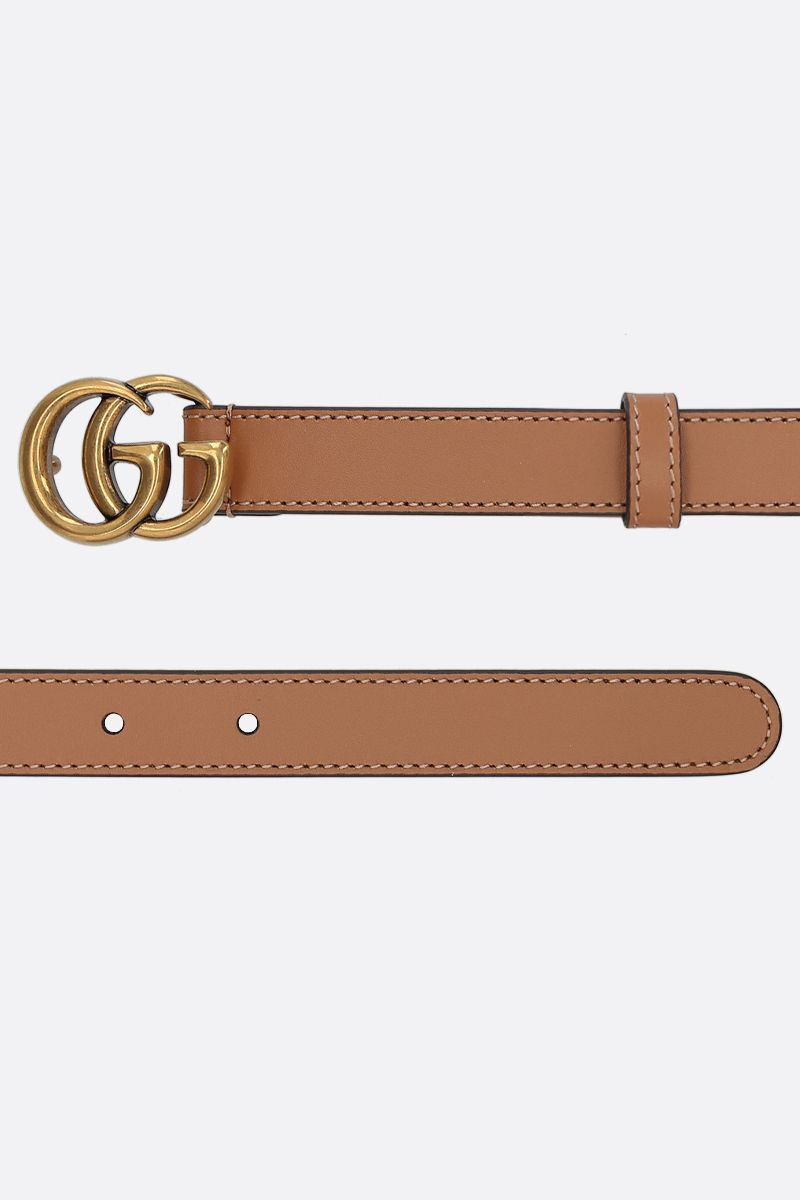 GUCCI: Double G buckle-detailed smooth leather belt Color Neutral_2