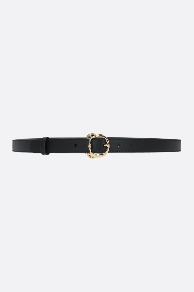 GUCCI: Horsebit buckle-detailed smooth leather belt Color Black_1
