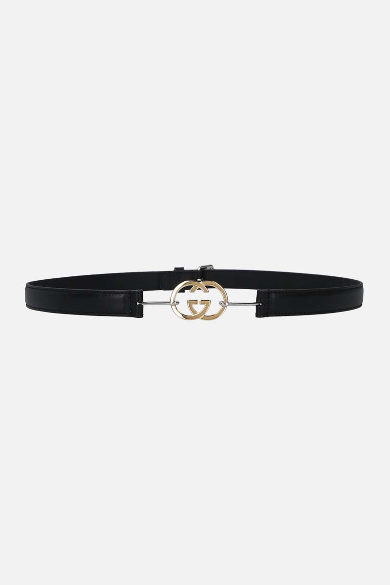GUCCI: Interlocking G buckle-detailed smooth leather thin belt Color Black_1