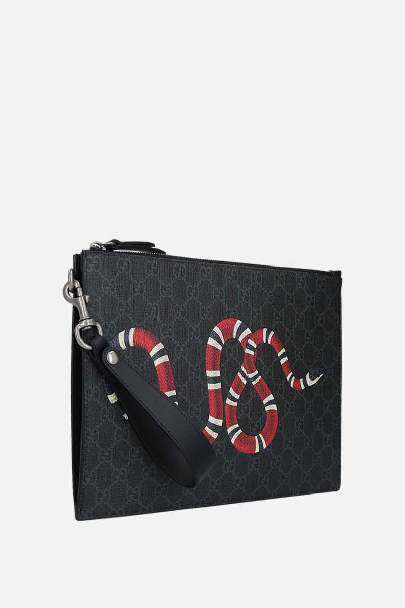 GUCCI: Kingsnake print GG Supreme canvas clutch Color Black_2