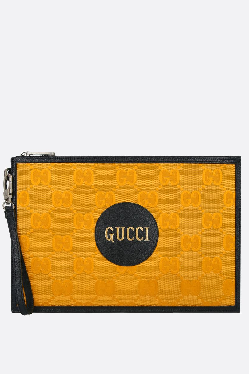 GUCCI: Gucci of the Grid pouch in ECONYL® Color Yellow_1