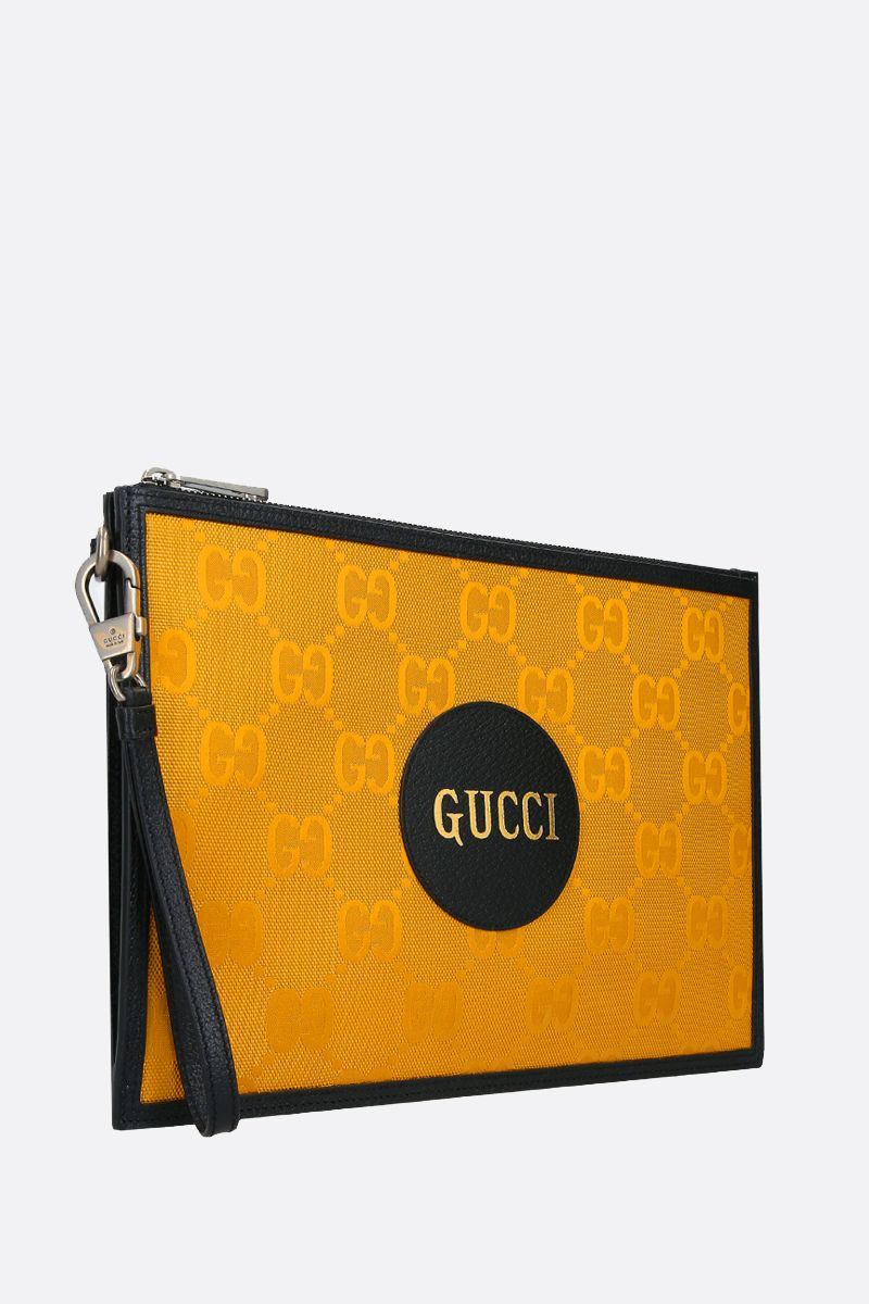GUCCI: Gucci of the Grid pouch in ECONYL® Color Yellow_2