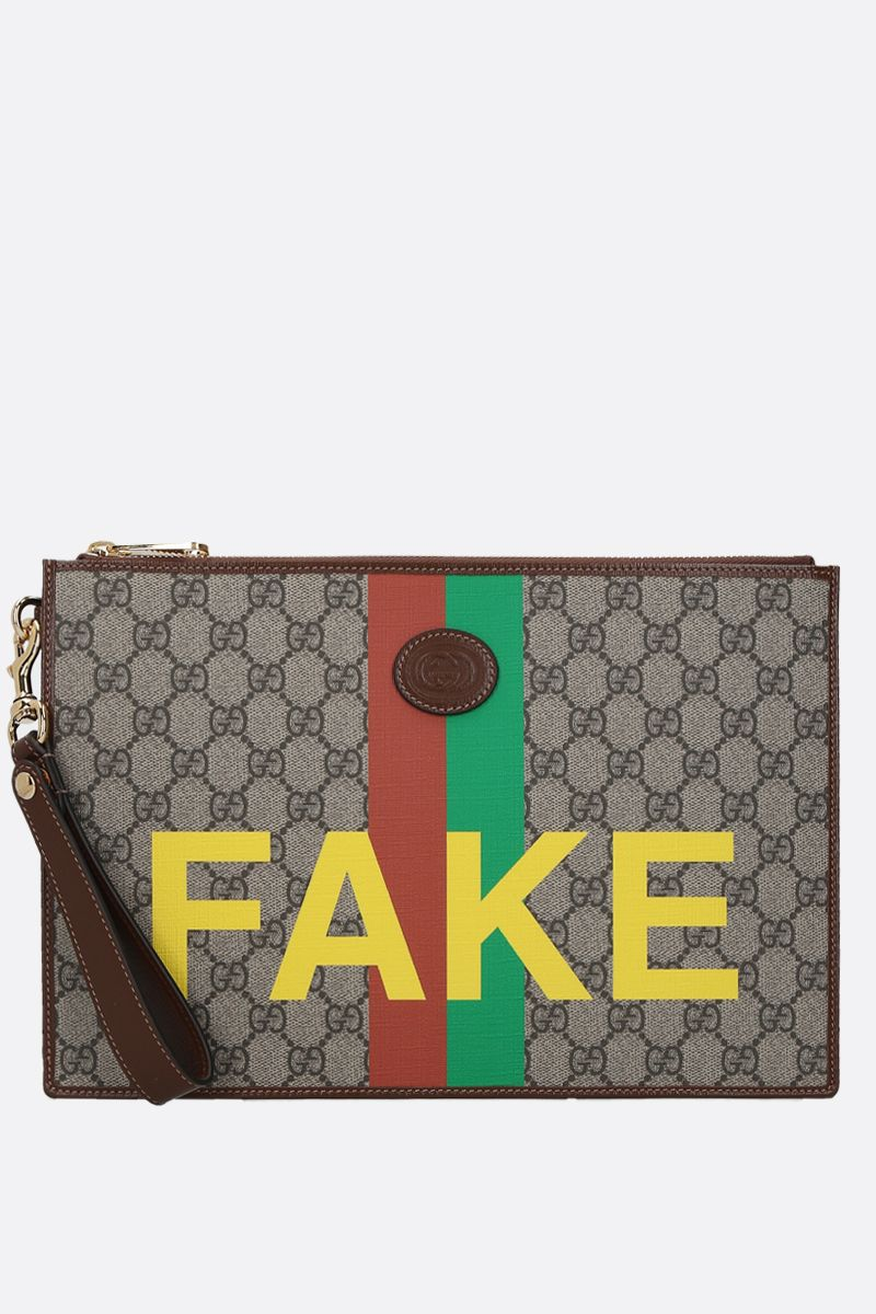 GUCCI: Fake/Not print GG Supreme clutch Color Neutral_1