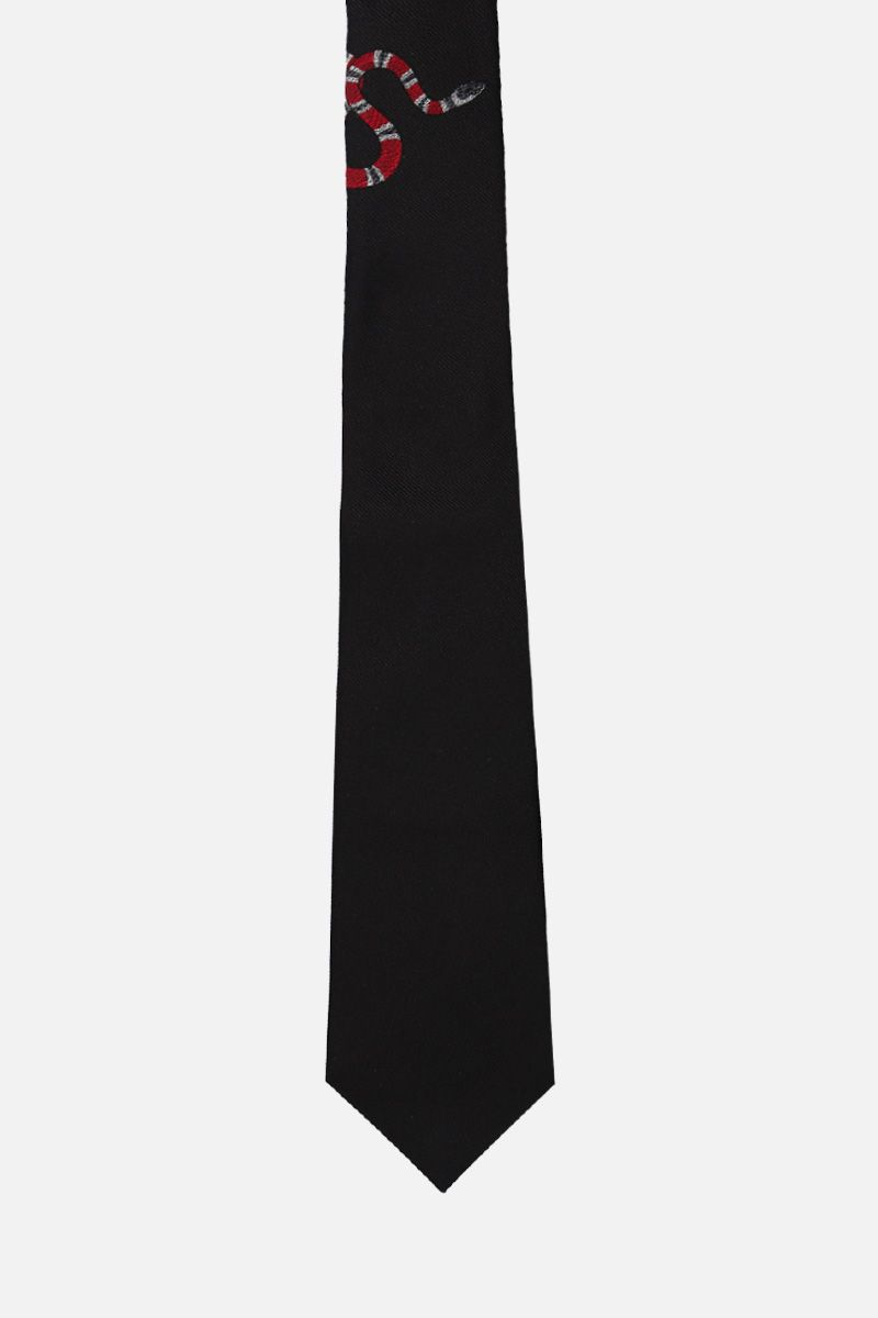 GUCCI: Kingsnake embroidered silk tie Color Black_1