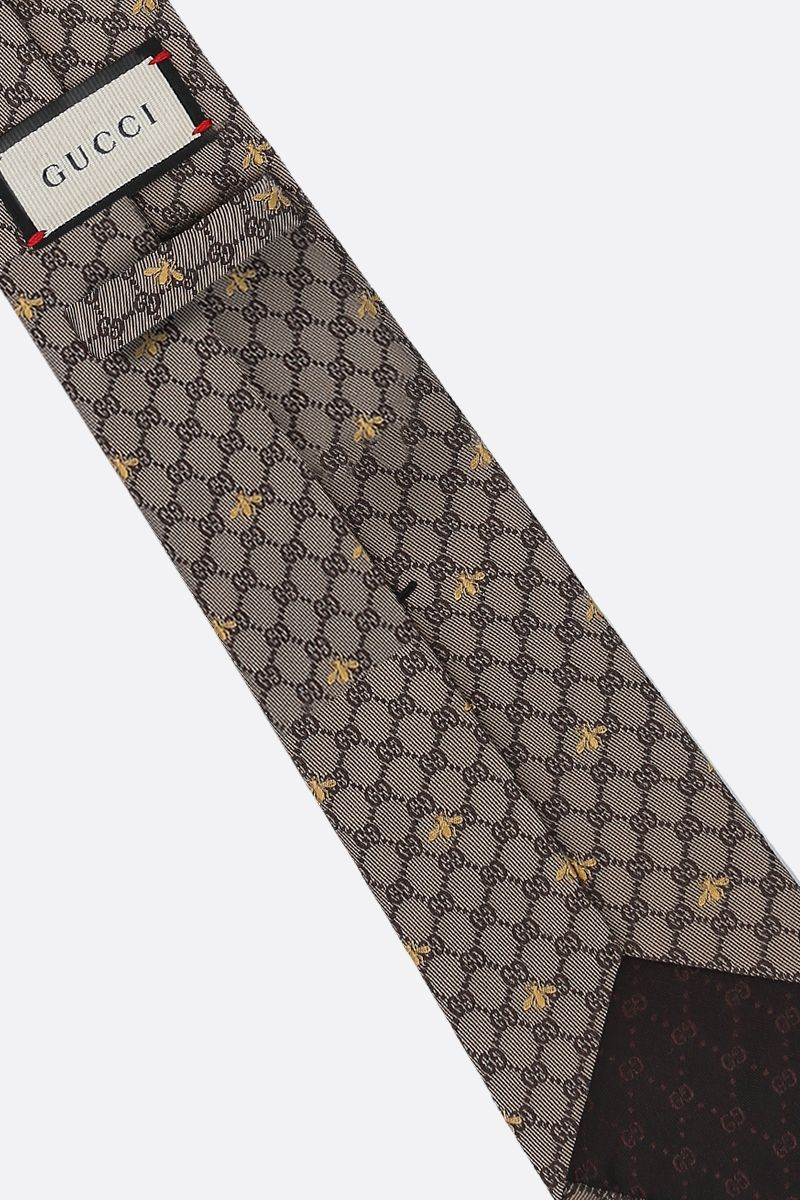 GUCCI: GG bees silk tie Color Neutral_2