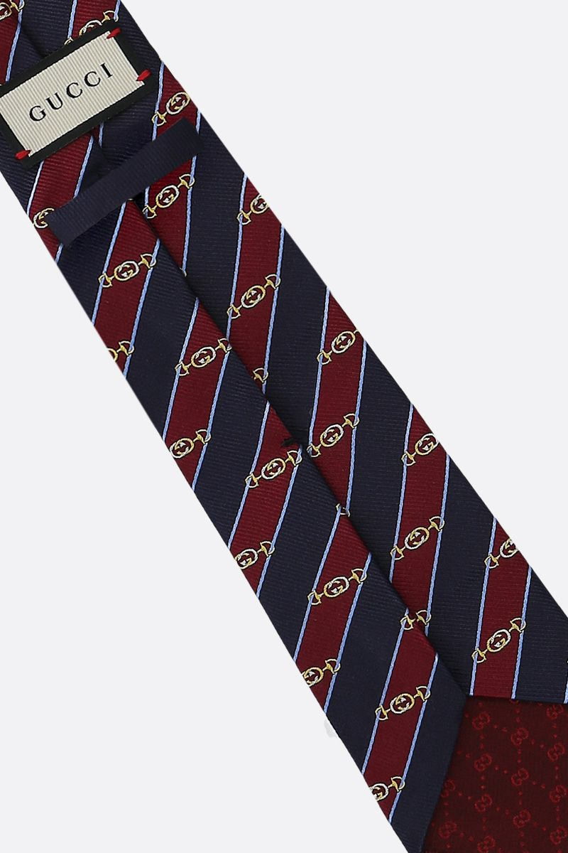 GUCCI: Interlocking G Horsebit jacquard silk tie Color Multicolor_2