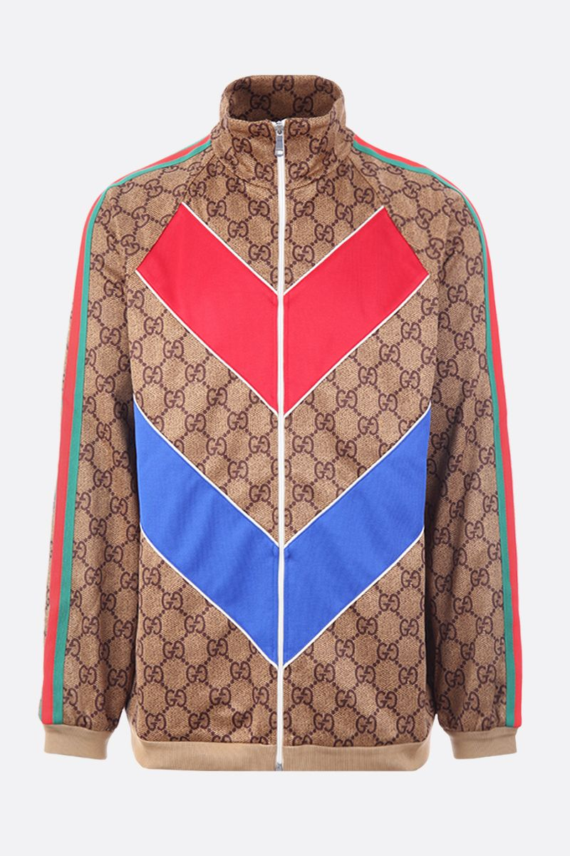 GUCCI: GG technical jersey full-zip sweatshirt Color Neutral_1