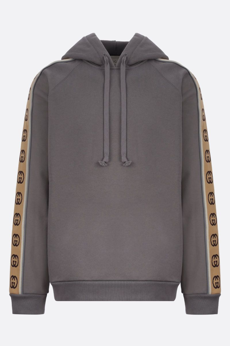 GUCCI: Interlocking G band-detailed cotton hoodie Color Multicolor_1