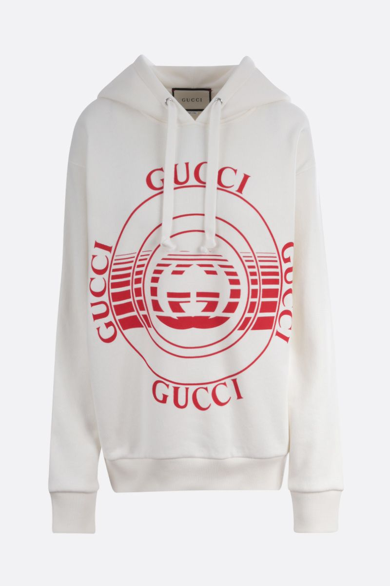 GUCCI: Gucci disk print cotton oversize hoodie Color White_1