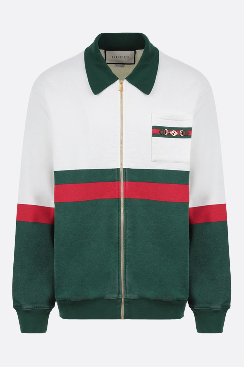 GUCCI: Web motif cotton full-zip jacket Color Neutral_1