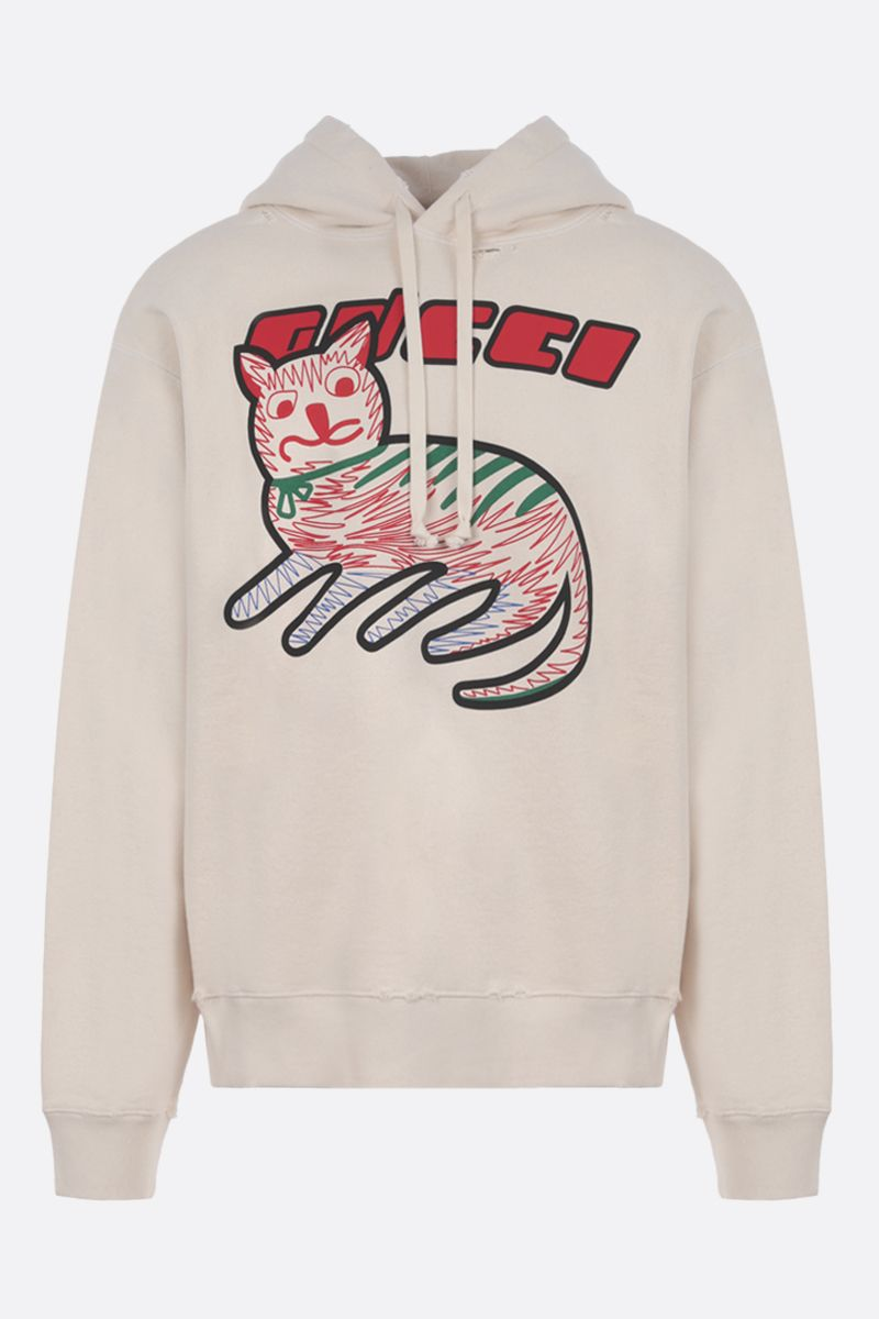 GUCCI: Guci cat print cotton hoodie Color White_1