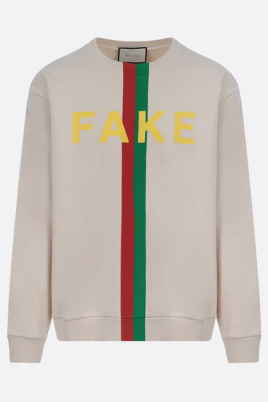 GUCCI: Fake/Not print cotton sweatshirt Color White_1