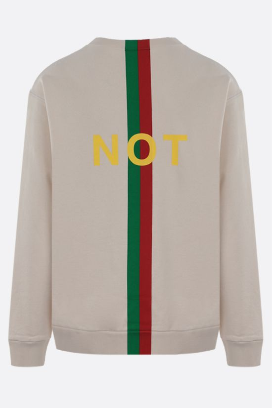 GUCCI: Fake/Not print cotton sweatshirt Color White_2