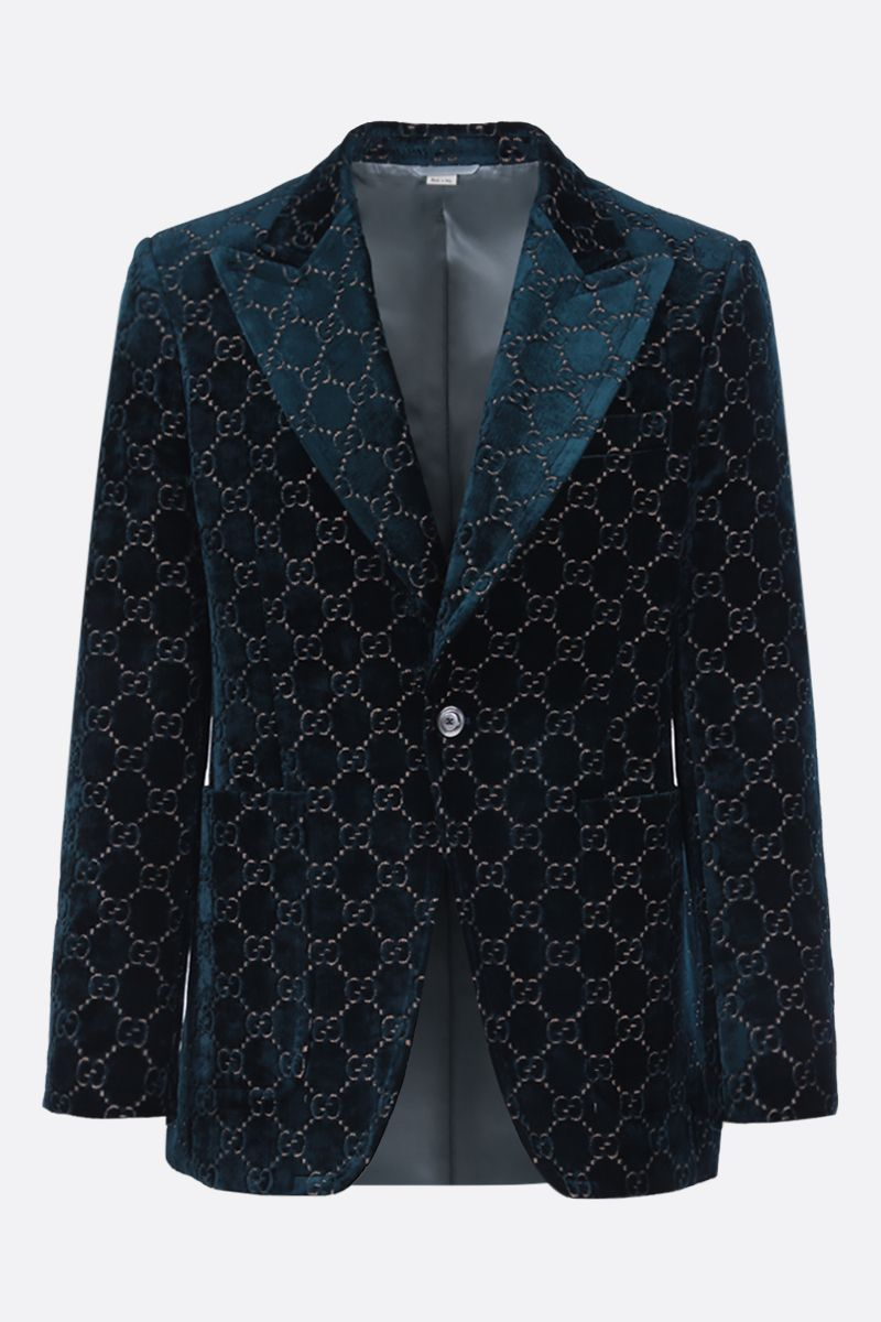 GUCCI: single-breasted GG velvet jacket Color Blue_1