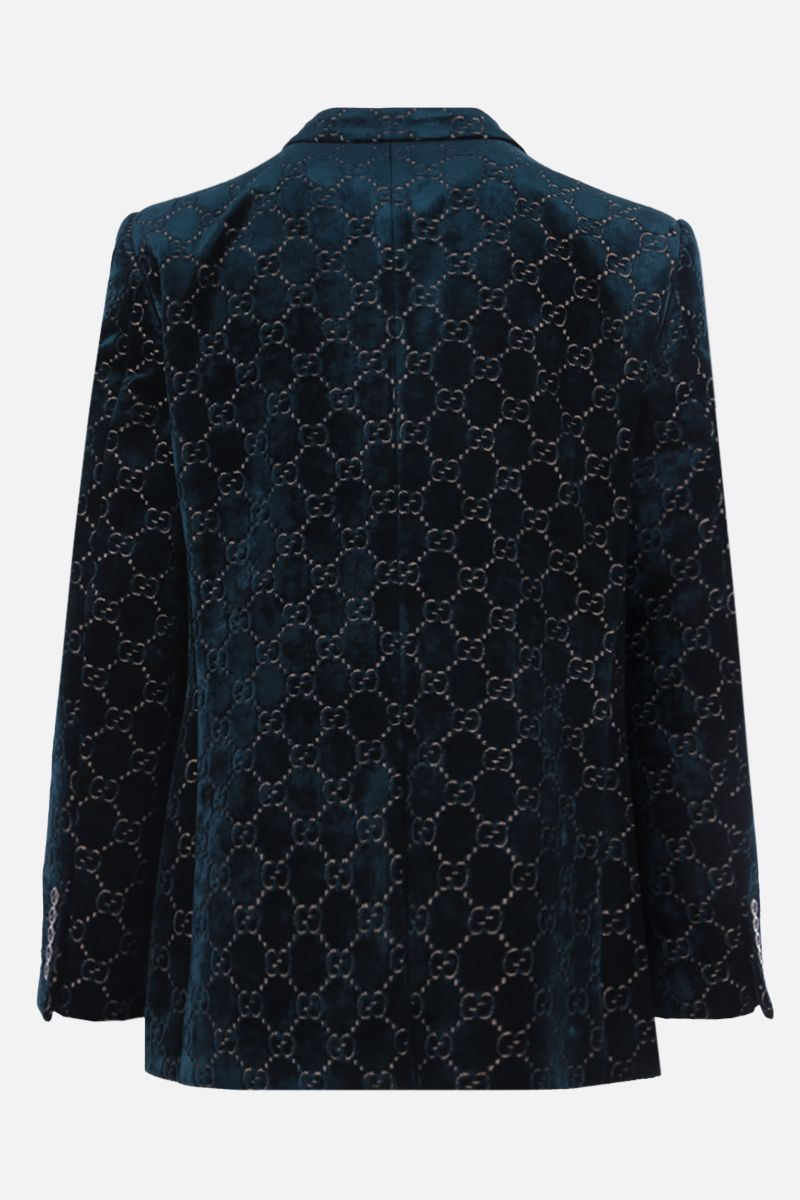 GUCCI: single-breasted GG velvet jacket Color Blue_2