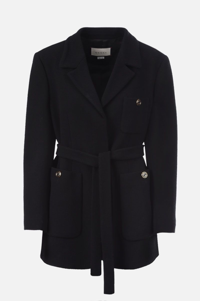GUCCI: wool single-breasted jacket Color Black_1