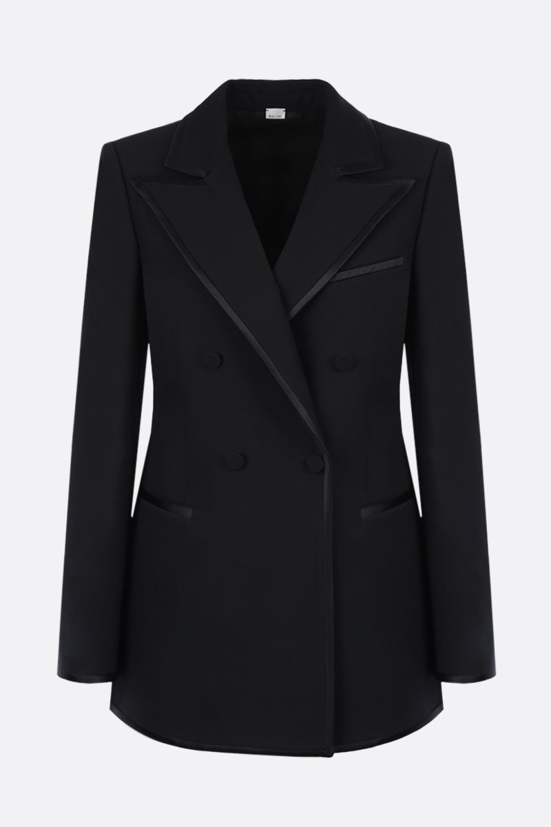 GUCCI: double-breasted silk wool blend jacket Color Black_1