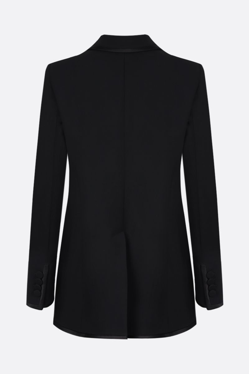 GUCCI: double-breasted silk wool blend jacket Color Black_2