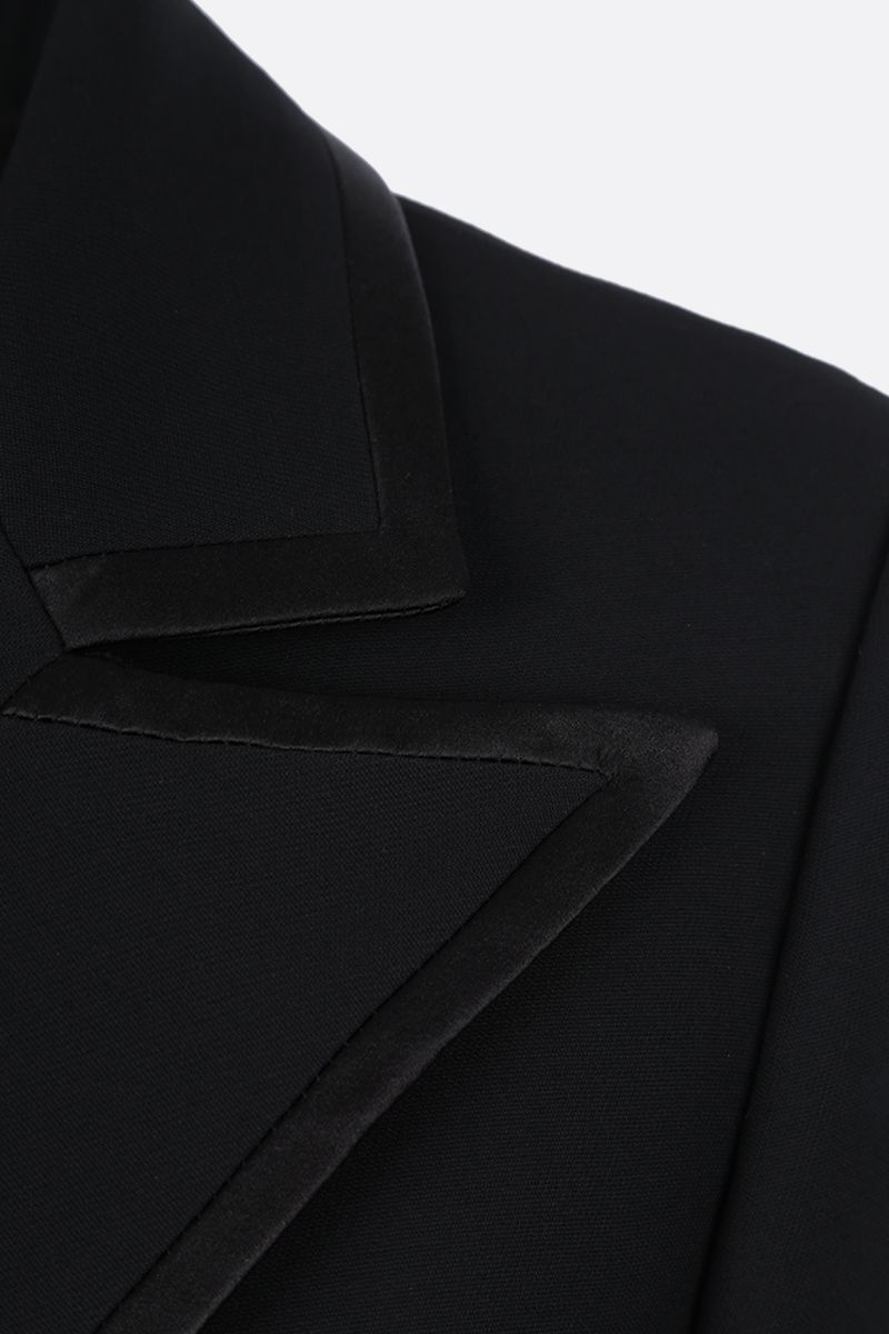 GUCCI: double-breasted silk wool blend jacket Color Black_3