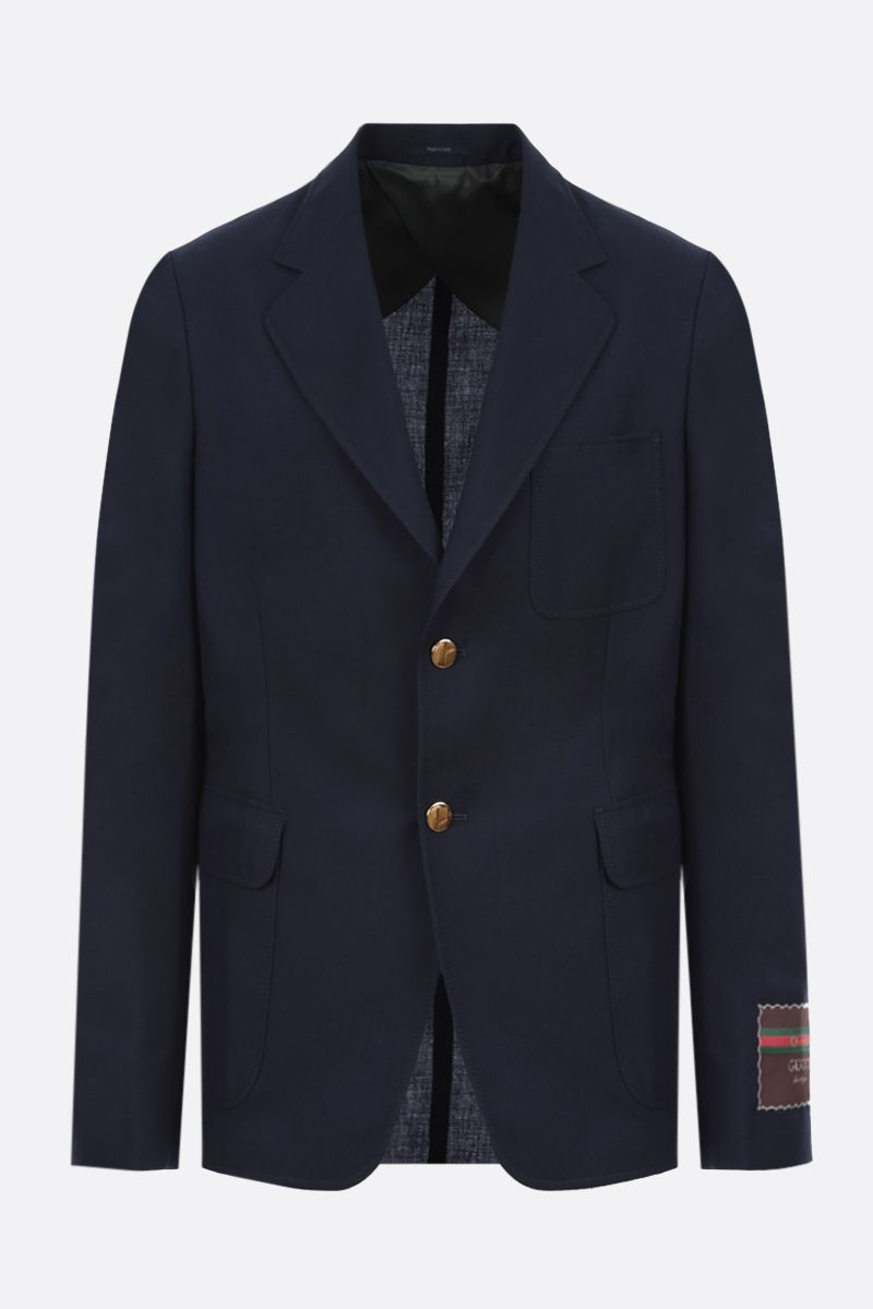 GUCCI: cotton wool blend single-breasted jacket Color Blue_1