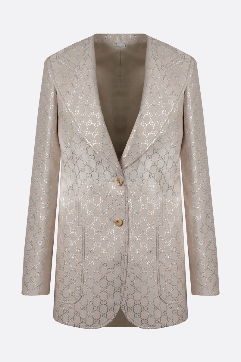 GUCCI: GG wool silk blend single-breasted jacket Color White_1