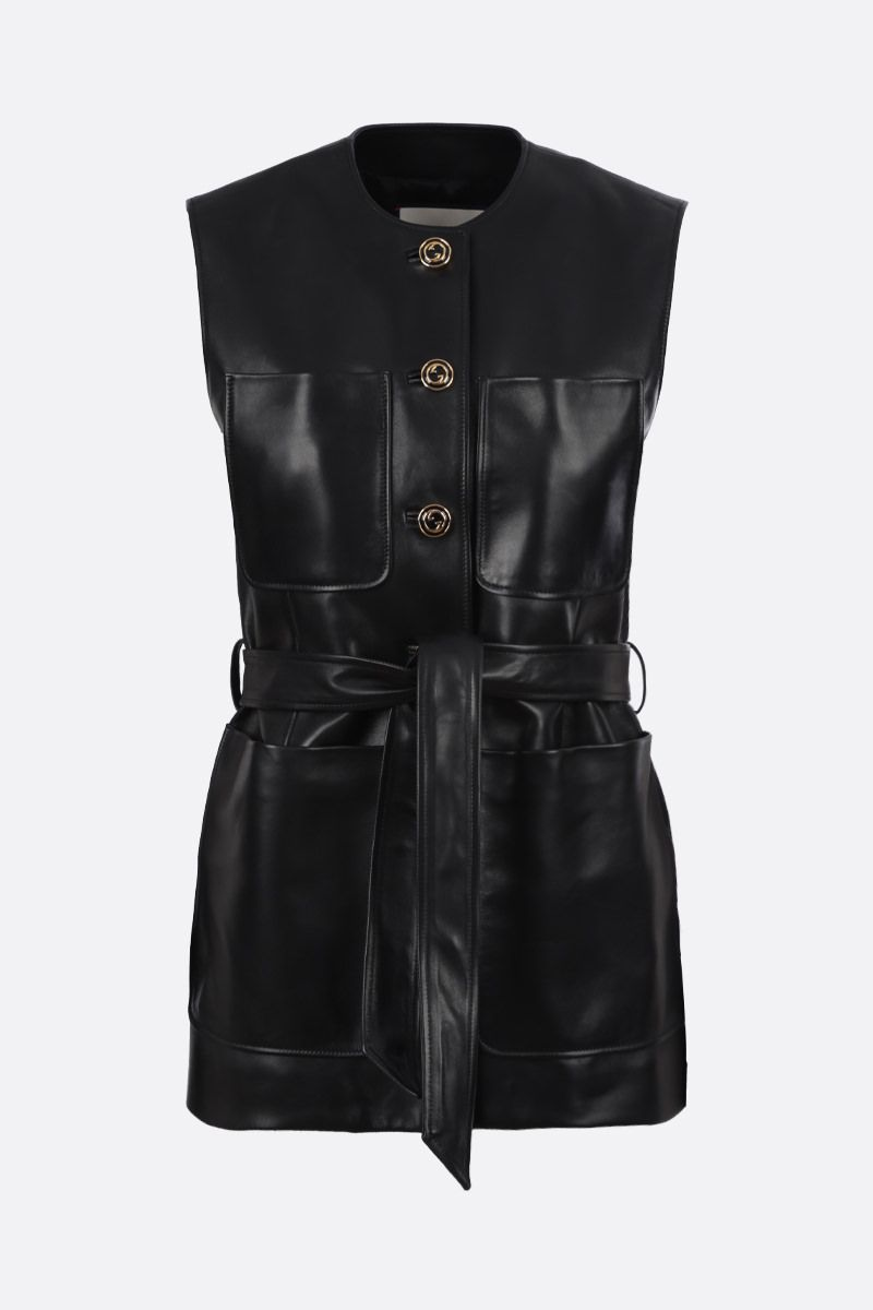 GUCCI: soft nappa single-breasted vest Color Black_1