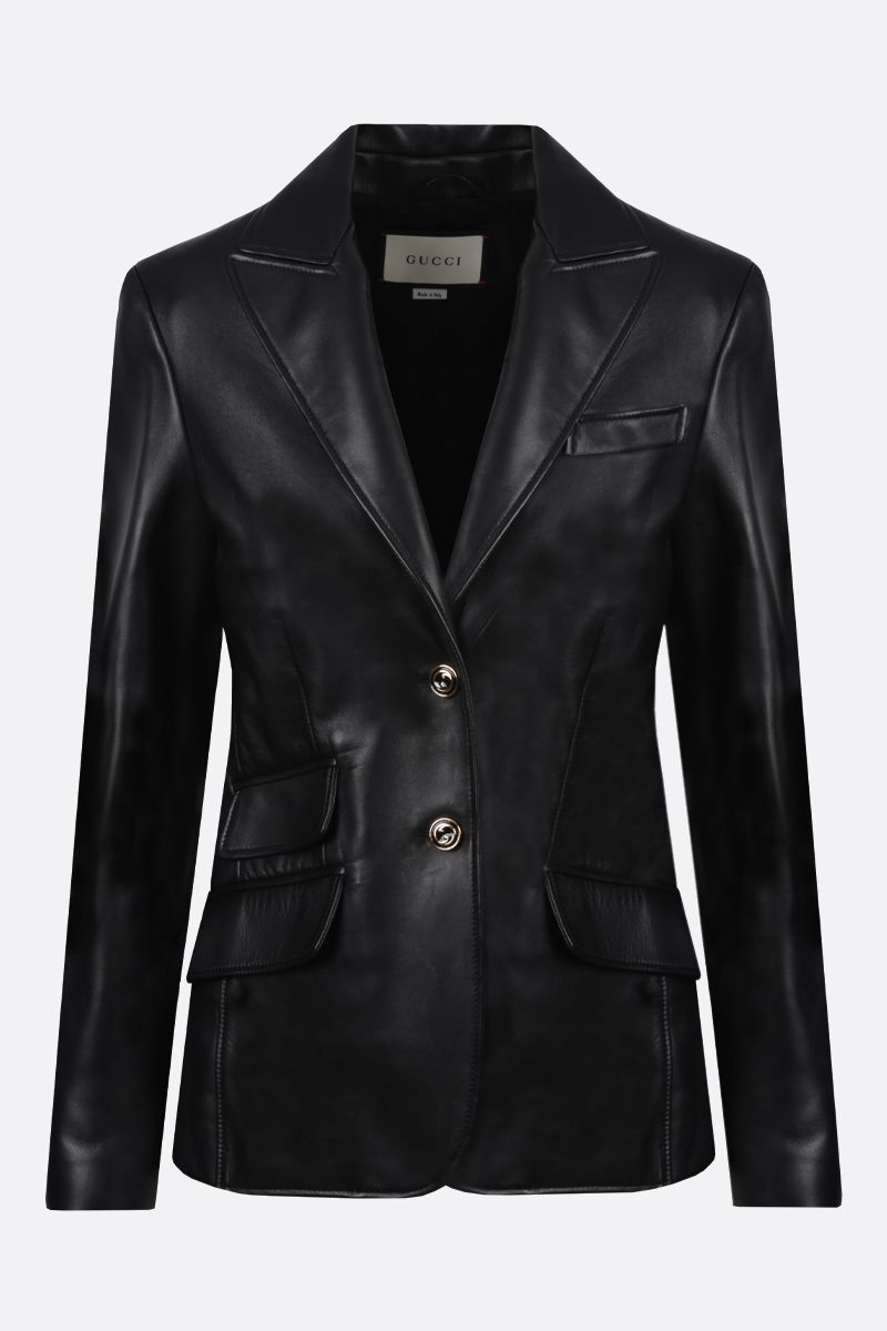 GUCCI: single-breasted soft nappa jacket Color Black_1