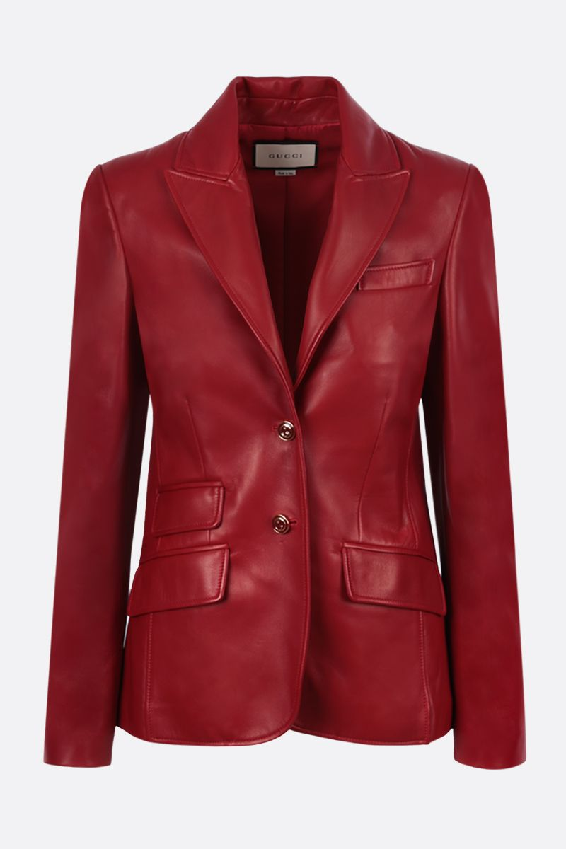 GUCCI: single-breasted soft nappa jacket Color Red_1