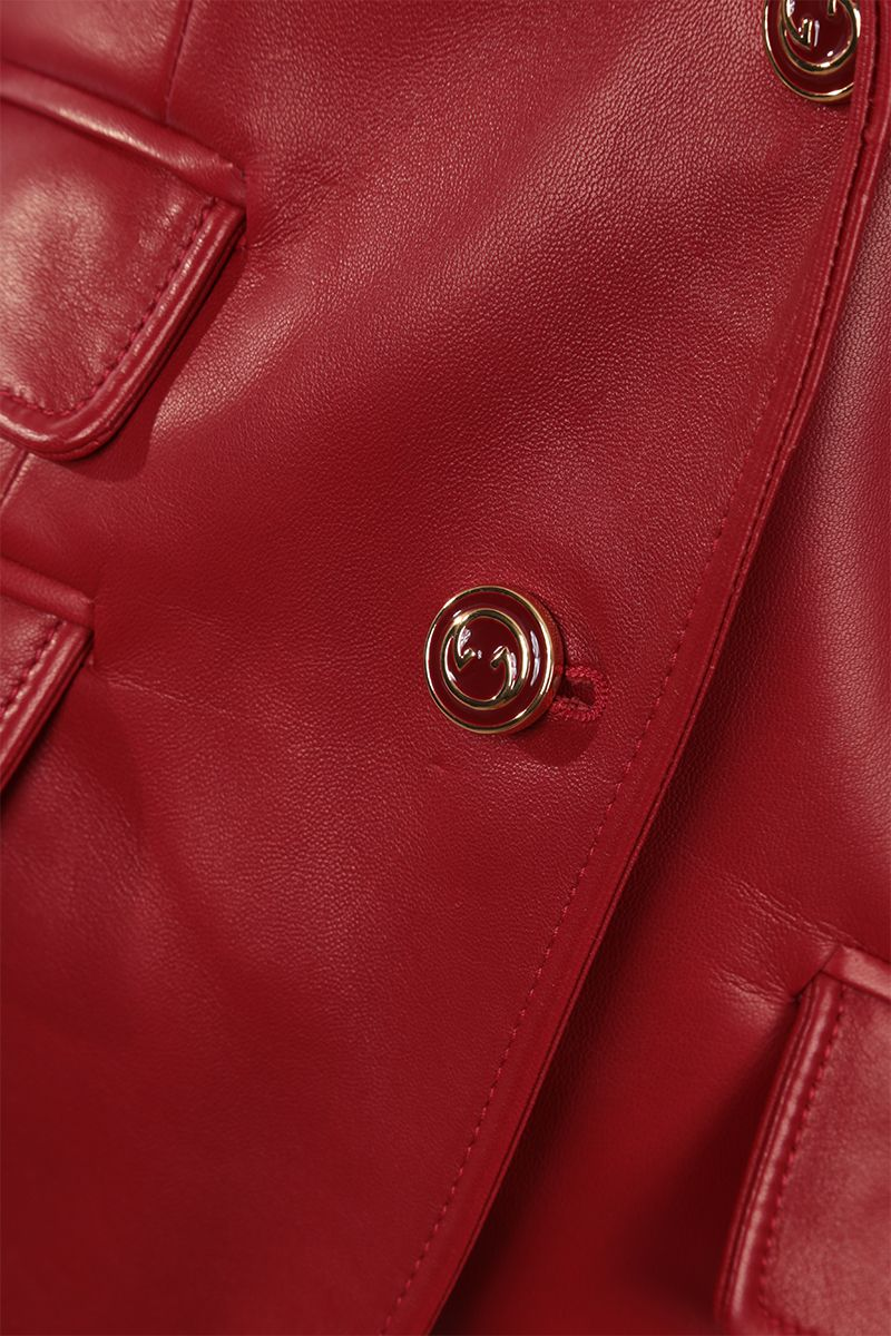 GUCCI: single-breasted soft nappa jacket Color Red_4