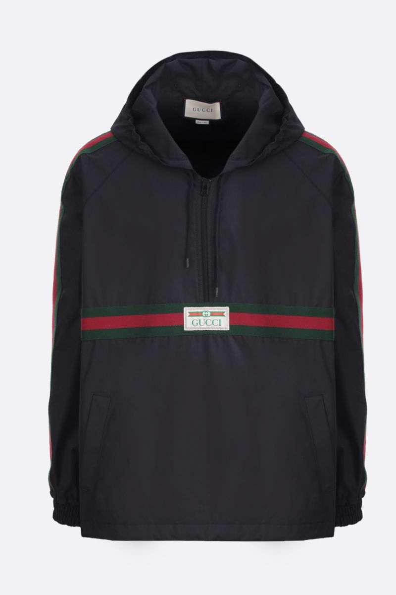GUCCI: Web-detailed technical cotton anorak Color Black_1