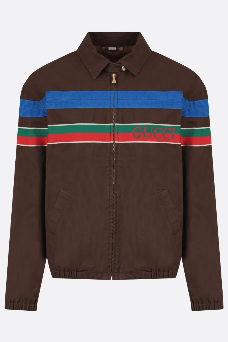 GUCCI: Web-detailed cotton bomber jacket Color Brown_1