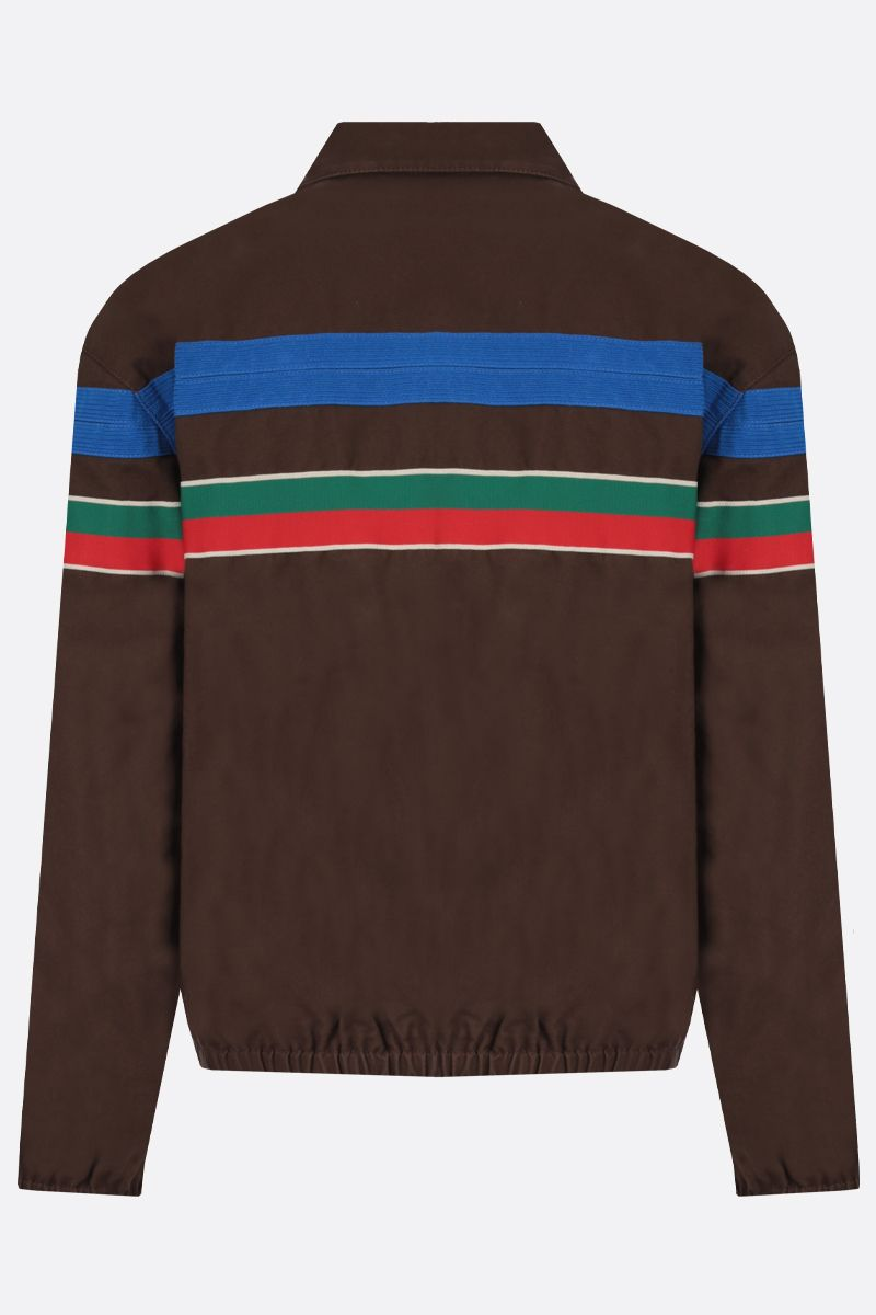 GUCCI: Web-detailed cotton bomber jacket Color Brown_2