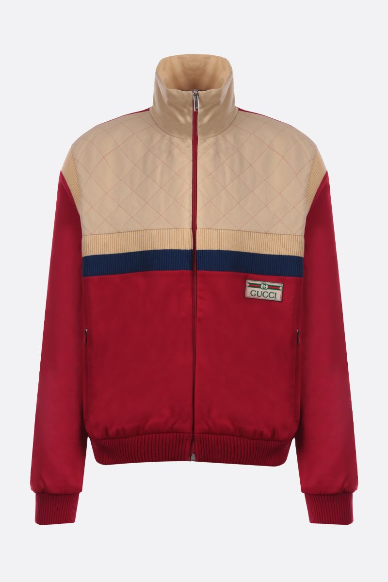 GUCCI: technical jersey and quilted cotton full-zip jacket Color Red_1