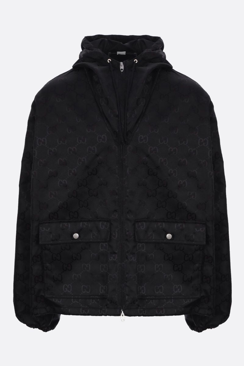 GUCCI: GG nylon hooded windbreaker Color Black_1