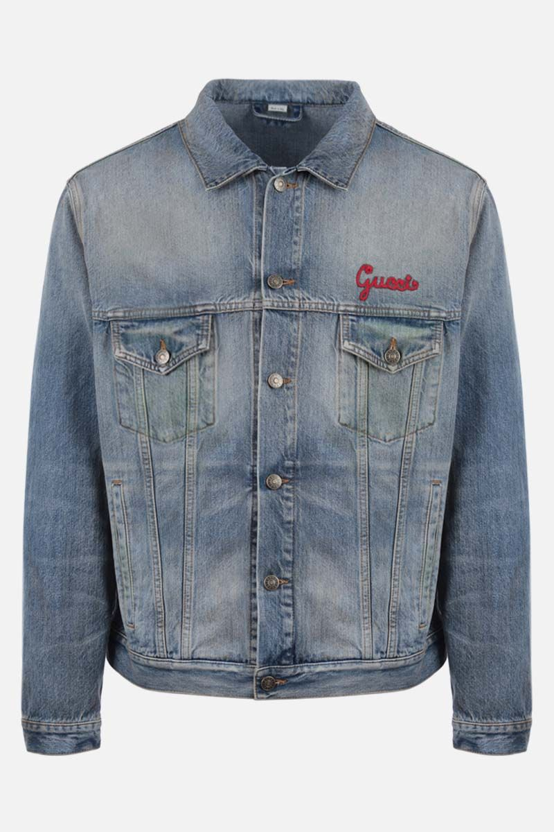 GUCCI: Gucci cat patch denim jacket Color Blue_1