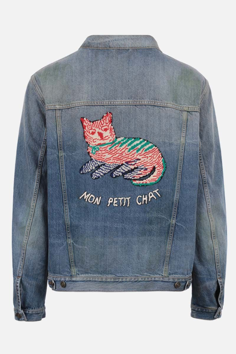 GUCCI: Gucci cat patch denim jacket Color Blue_2