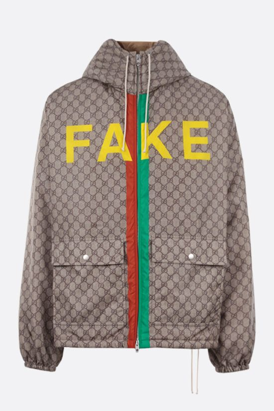 GUCCI: Fake/Not print GG nylon padded jacket Color Neutral_1